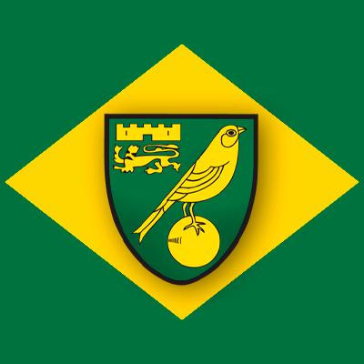 Logo do Norwich: Fundo verde escuro, um losango amarelo com um escudo com um grande canário no centro.